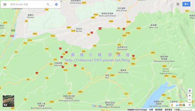 Valensole薰衣草地圖