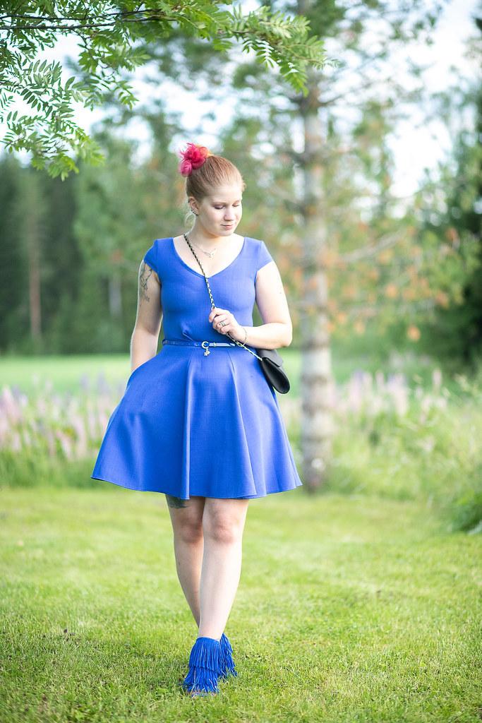 styleblogger, outfit, sininen mekko