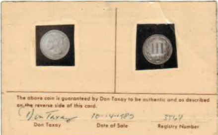 Taxay Three Cent card front