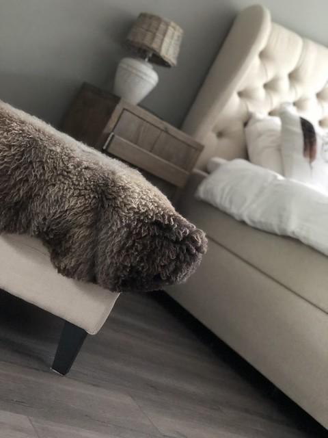 Hocker plaid gecapitonneerd hoofdbord bed