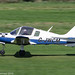 G-JWCM - 1980 build Scottish Aviation Bulldog 1210, arriving on Runway 26L at Barton