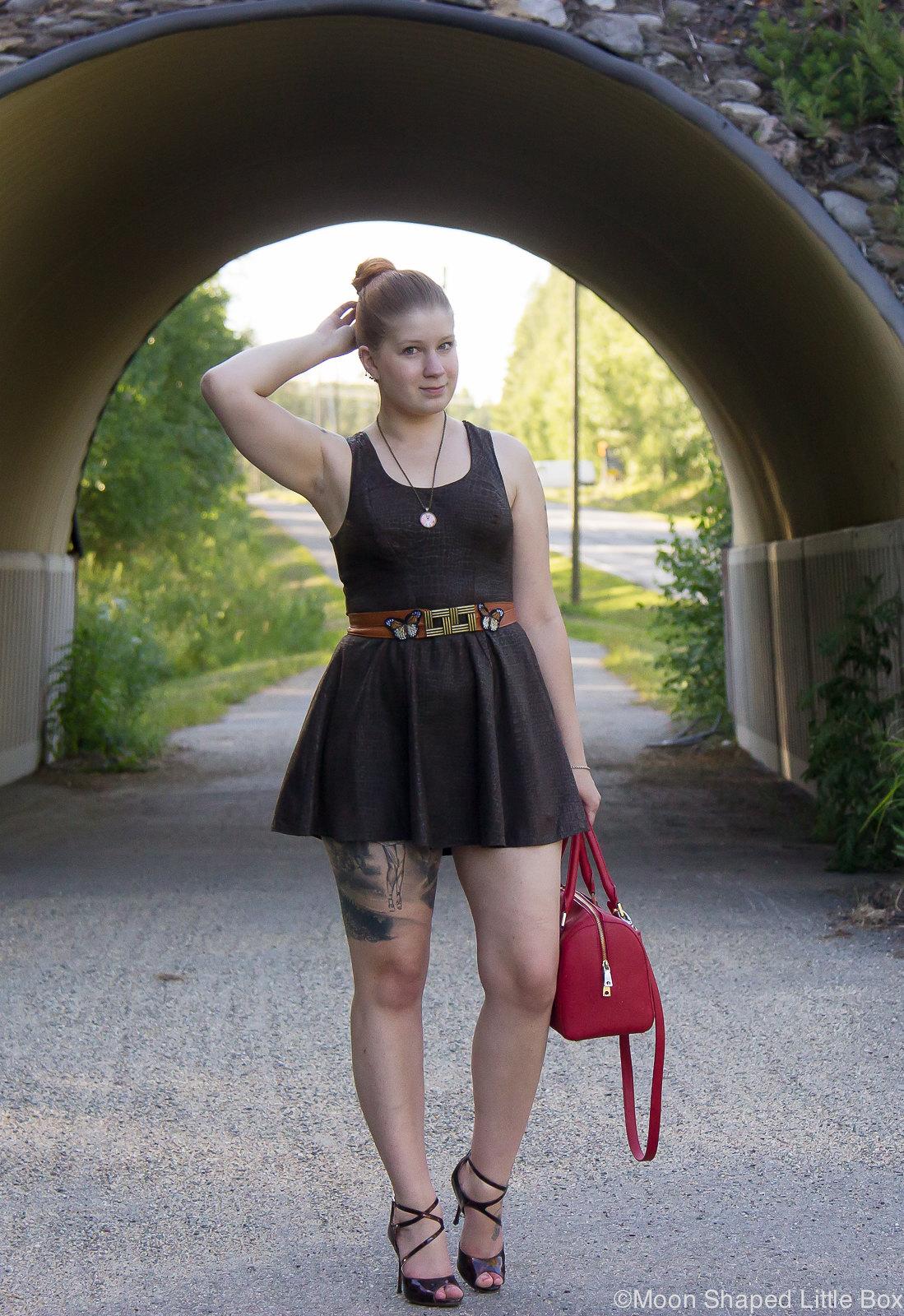 Leatherdress, dark brown, finnish design, rokita