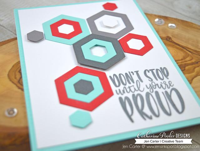 Jen Carter CP Tropically Yours Cabana Tiles Hexagon Stop Proud Closeup