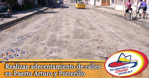 Realizan adecentamiento de calles en Puerto Arturo y Potrerillo