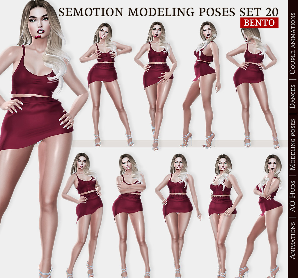 SEmotion Female Bento Modeling poses Set 20 – 10 static poses