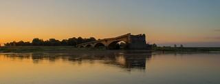 Sunbeams hit the bridge destroyed in World War II