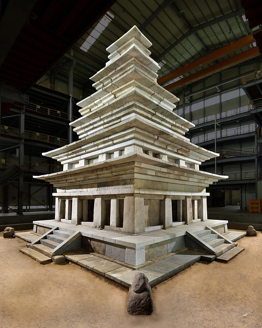 The stone pagoda (Mireuksa Seoktap) has been undergoing restoration construction for the past 20 years. From english.hani.co.kr