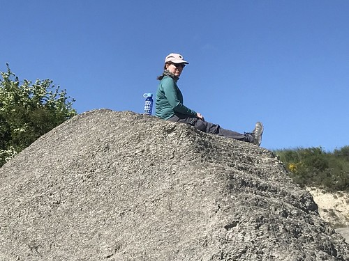Megan on a clay hill before Artieda