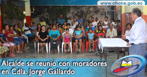 Alcalde se reunió con moradores en Cdla. Jorge Gallardo