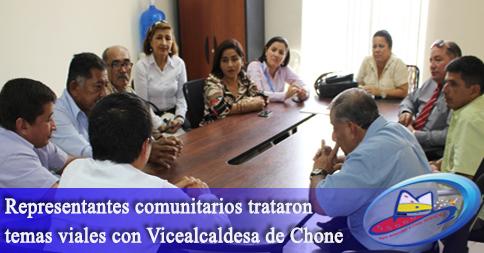 Representantes comunitarios trataron temas viales con Vicealcaldesa de Chone
