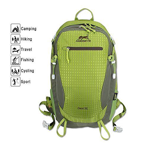 30L Nylon Fabric BackPack, AMEISEYE Waterproof Hiking Daypack,Trekking Rucksacks, Durable Travel Knapsack for Climbing Camping Mountaineering Fishing(Green)