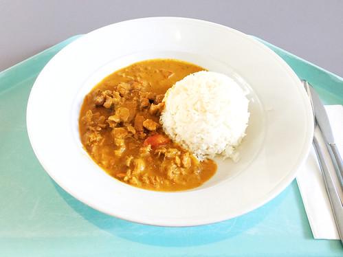 Turkey chop in tikka massala sauce with basmati rice / Putengeschnetzeltes in Tikka-Masalasauce & Basmatireis