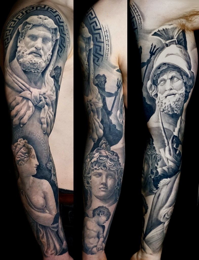 Black And Grey Full Sleeve Tattoo Ancient Greek And Roma Flickr