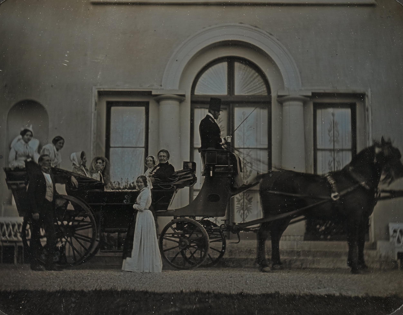 A photograph of a landau carriage ready for a family outing, 1849. Photo taken by Jean-Gabriel Eynard.