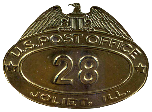 Badge worn by letter carrier in Joliet, Illinois sometime in the first half of the 20th century .