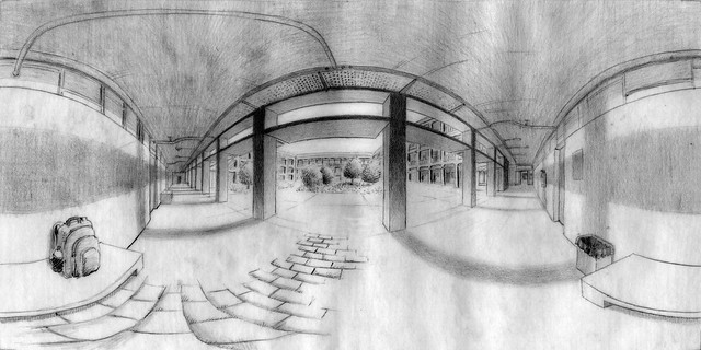 panoramic drawing of ISEL engineering school