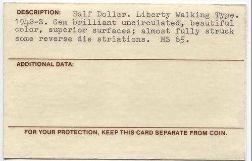 1942-S Half Dollar Taxay Certificate back