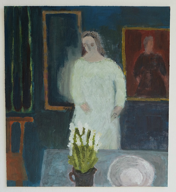 interior with pale figure and flowers