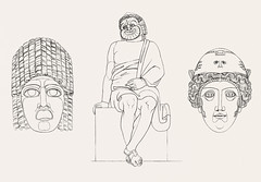 Comedian & masks from An illustration of the Egyptian, Grecian and Roman costumes by Thomas Baxter (1782-1821).Digitally enhanced by rawpixel.