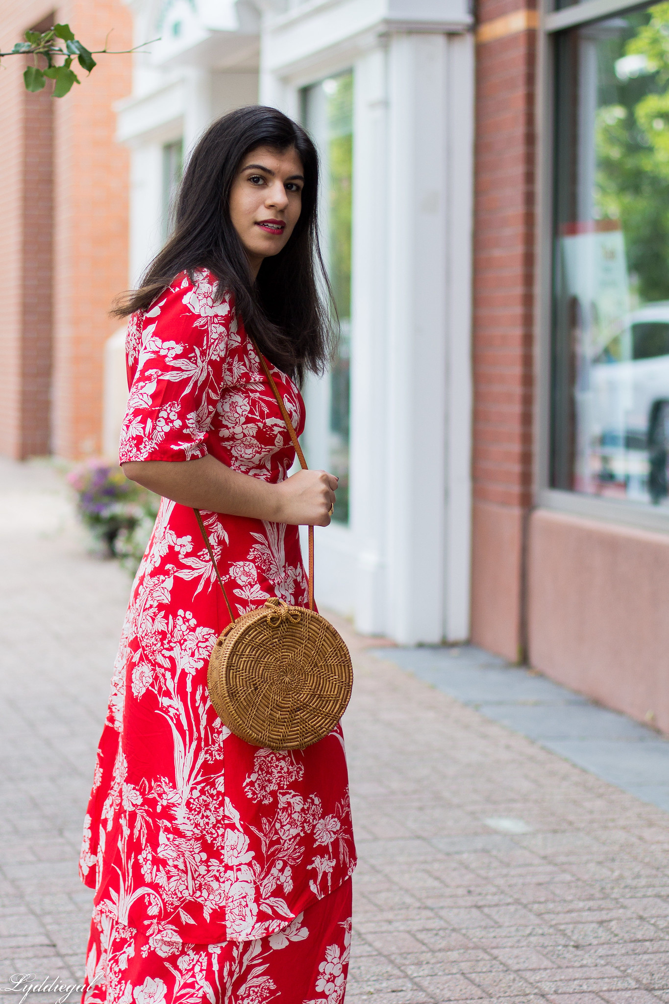 red and white printed wrap dress, round rattan bag, white mules-3.jpg