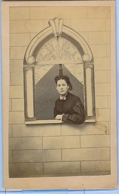 Woman posed in studio window cdv