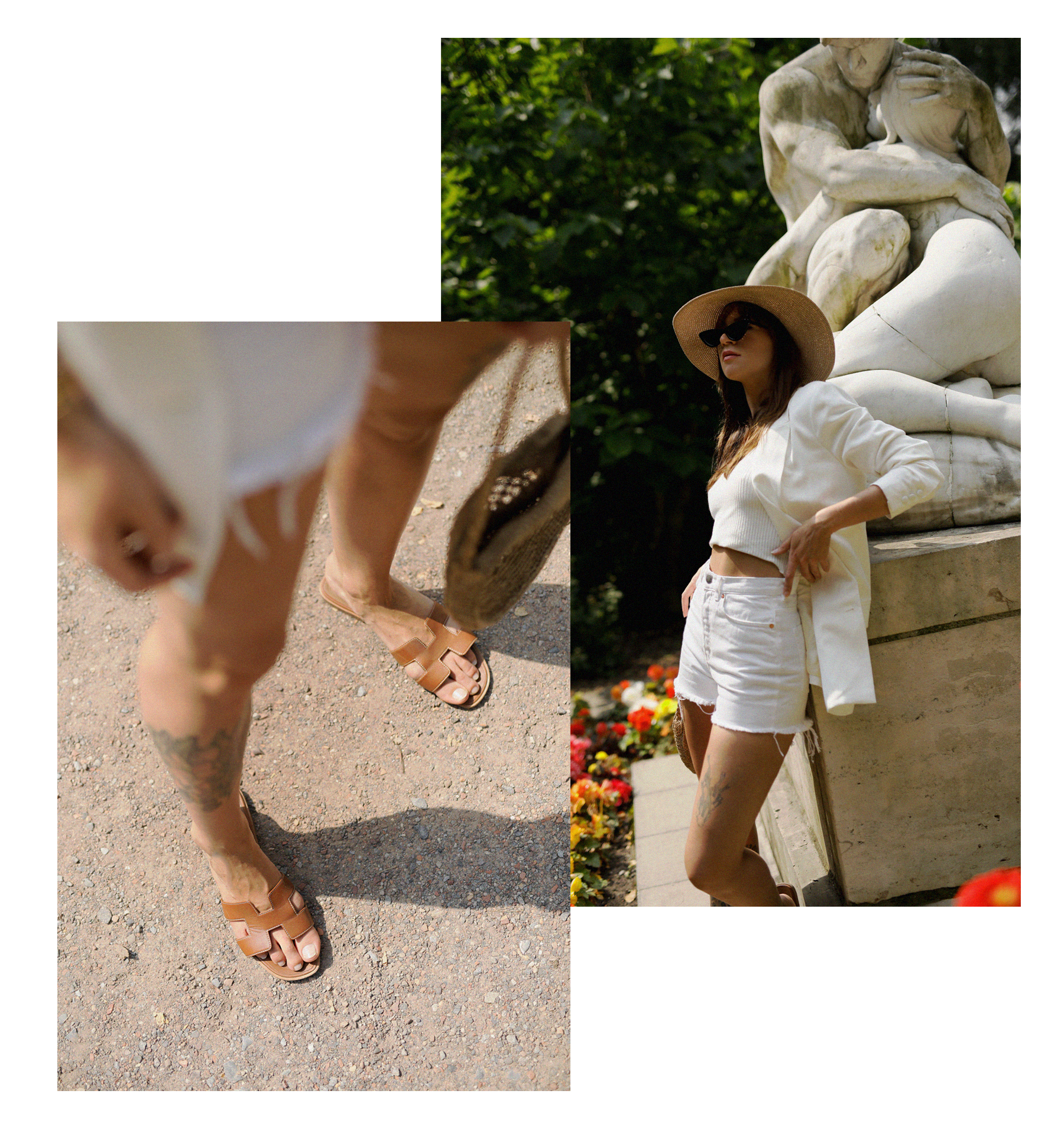 all white & other stories shorts blazer straw hat summer bag rouje hermes oran sandals statue marble dusseldorf düsseldorf dus art artist artsy fashionblogger modeblog jane birkin jeanne damas outfit mode inspiration look seventies ricarda schernus 3