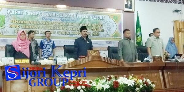 Ketua DPRD Natuna, Yusri Pandi, didampingi Ketua I Hadi Chandra, dan Ketua II Daeng Amhar, serta Wakil Bupati Natuna, Ngesti Yuni Suprapti