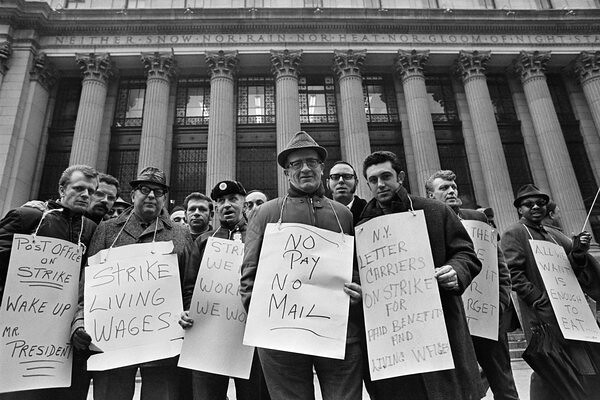 Striking letter carriers at the New York City General Post Office, March 1970.