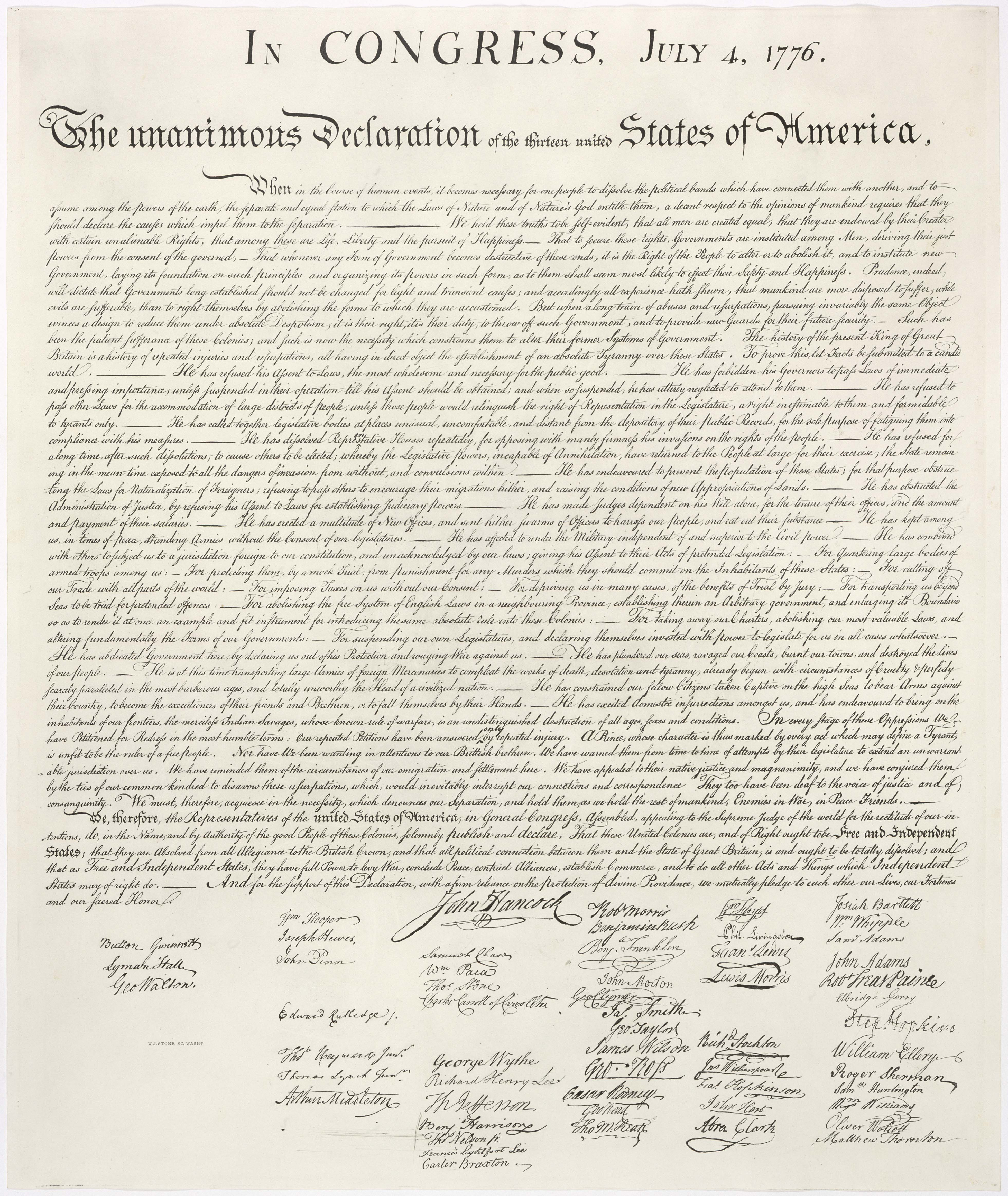 High-resolution image of the 1823 William Stone facsimile of the United States Declaration of Independence. Stone may have used a wet pressing process (that removed ink from the original document onto a contact sheet for the purpose of making the engraving.