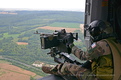Door-gunner on board french Army ALAT NH90 Caïman helicopter