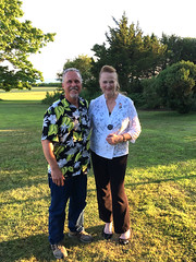 Rep. McCarty attends the Harkness Memorial State Park annual picnic Wednesday night with Park Superintendent Vincent Messino.