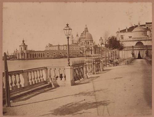 Old Photograph of Venice, looking down the Grand Canal from the Royal Gardens