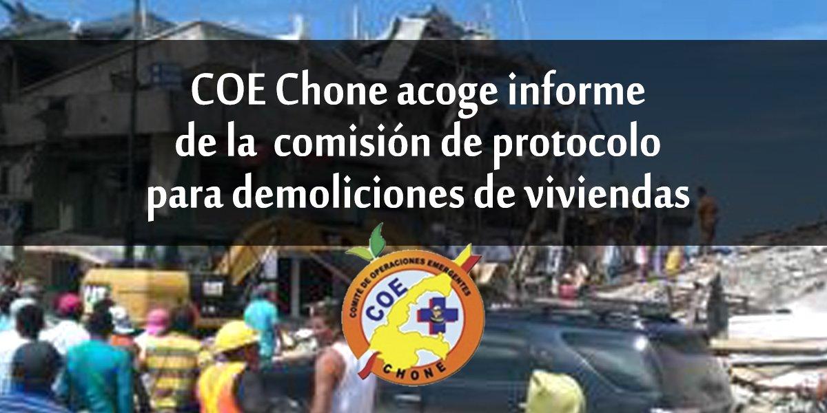 COE Chone acoge informe de la comisión de protocolo para demoliciones de viviendas