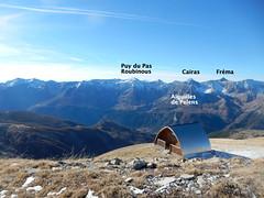 Vue depuis la Cime de l'Aspre : Refuge ; Aiguilles de Pelens ; Puy du Pas Roubinous, le Cairas, Sommet de la Fréma - Photo of Villeneuve-d'Entraunes