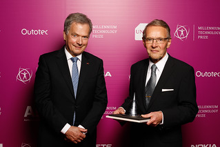 Finnish President, the Patron of the Millennium Technology Prize, Sauli Niinistö and the 2018 MTP Winner, dr Tuomo Suntola.