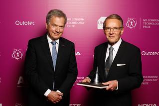 Finnish President, the Patron of the Millennium Technology Prize, Sauli Niinistö and the 2018 MTP Winner, dr Tuomo Suntola.