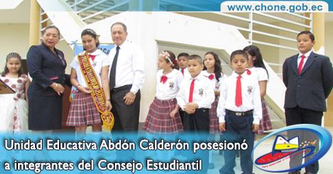 Unidad Educativa Abdón Calderón posesionó a integrantes del Consejo Estudiantil