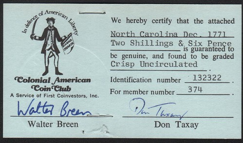 BREEN AND TAXAY AUTHENTICATION CERTIFICATES