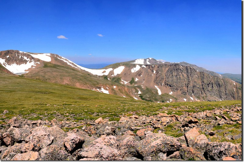 Looking northeast at Mount Eva et al. from Breckenridge Peak's summit