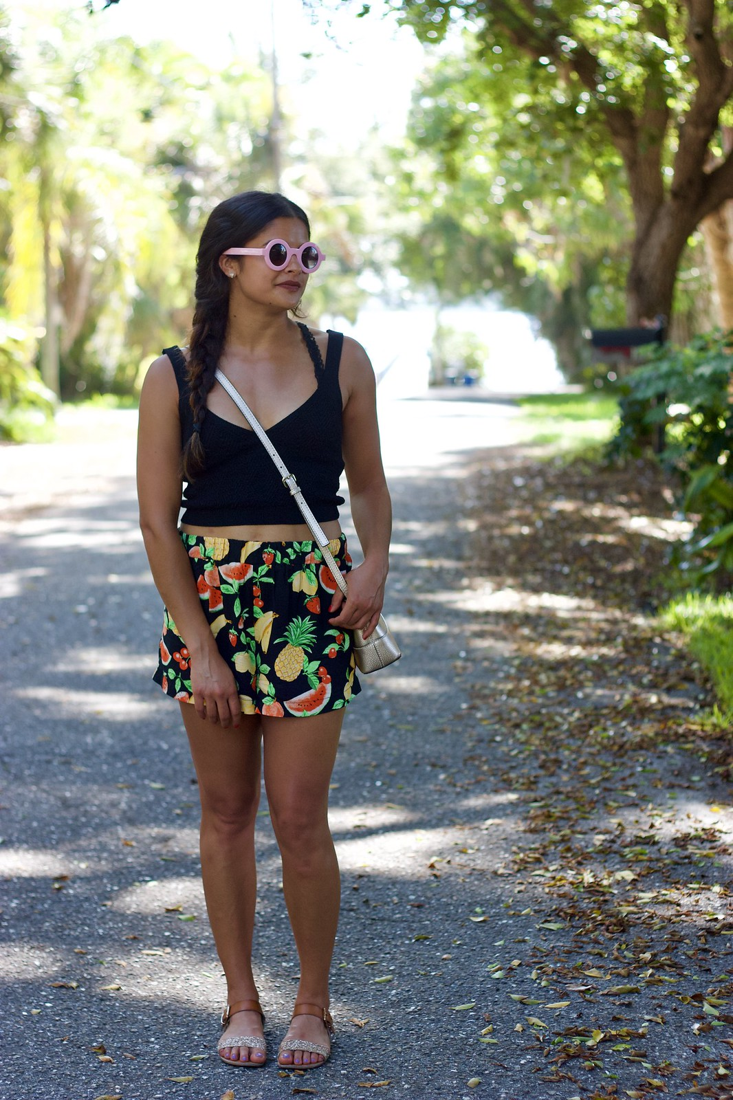 Priya the Blog, Nashville fashion blog, Nashville fashion blogger, Nashville style blog, Nashville style blogger, Summer outfit, fruit print shorts, Zara knit crop top,