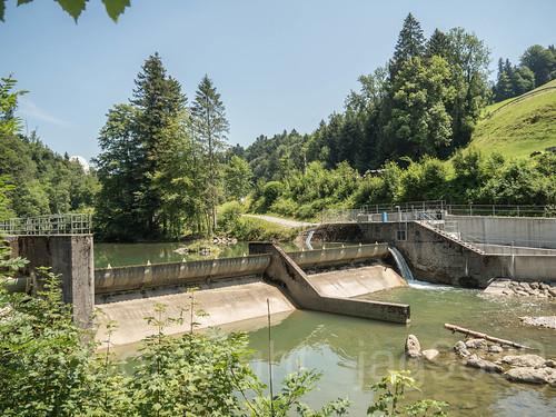 SIH320 Power Plant Weir on the Sihl River, Huetten, Canton of Zurich, Switzerland