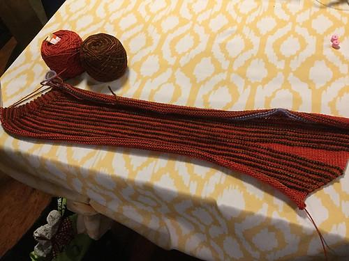 Progress on Nicole's Swirl Skirt - love her colours!