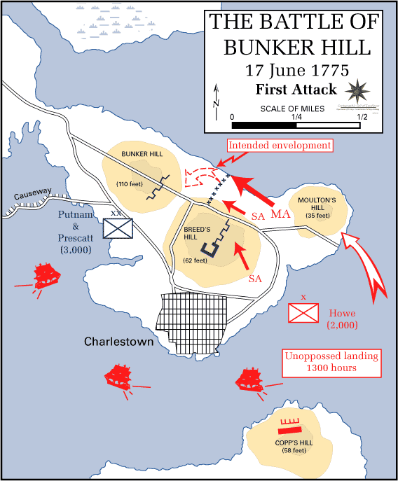 The first British attack on Bunker Hill; shaded areas are hills