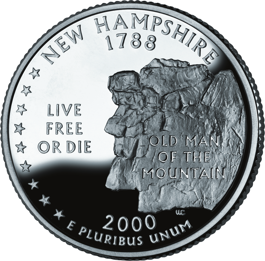 The New Hampshire state quarter portrays