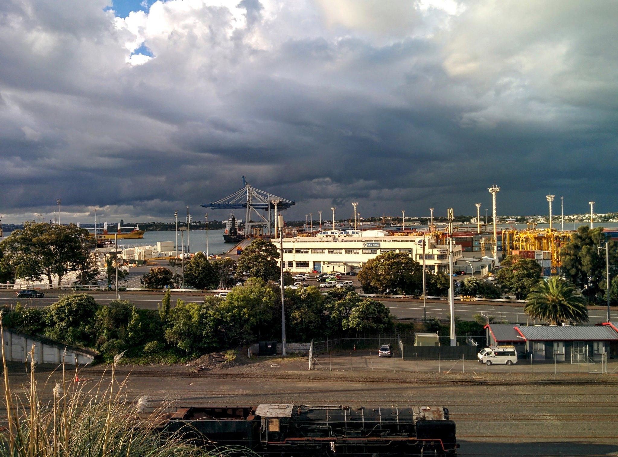 Darkening sky over Auckland