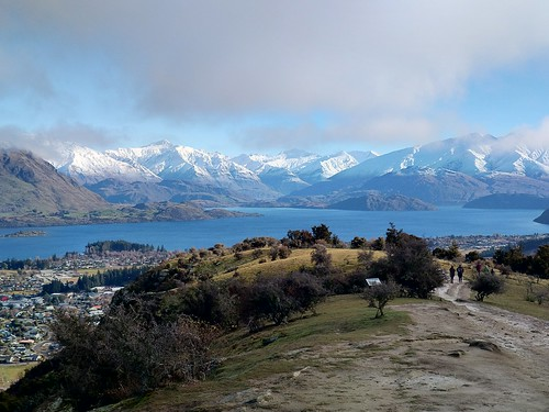 people outdoor walking mountain alps southern track town lake wanaka tree bush otago newzealand