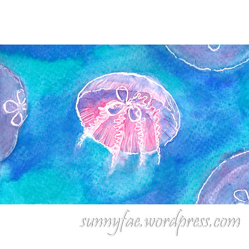 moon jellyfish watercolour for world watercolor month 2018