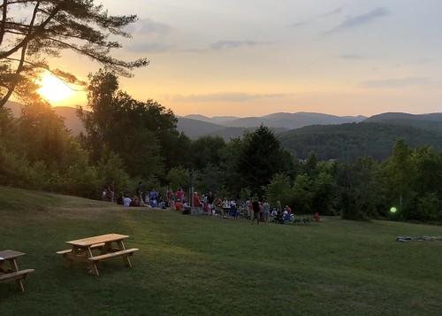 hill sunset campfire vermont ohana camp