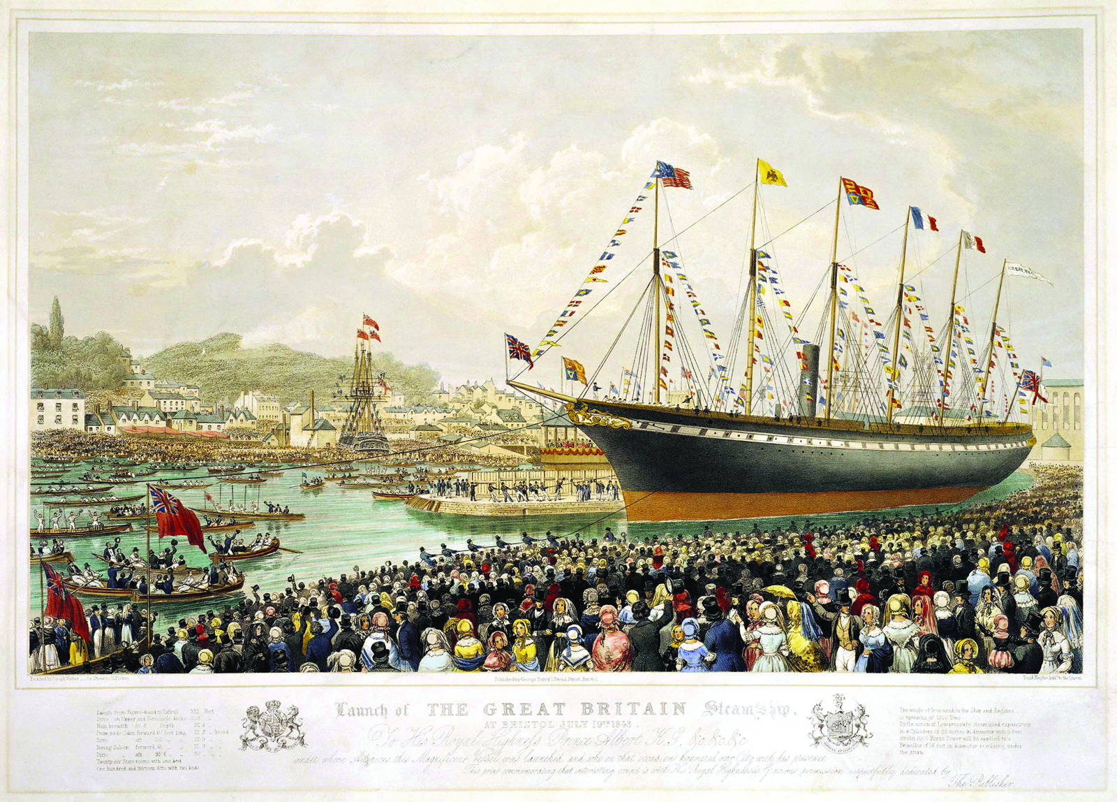 Launch of the SS Great Britain, the revolutionary ship of Isambard Kingdom Brunel, at Bristol in 1843.