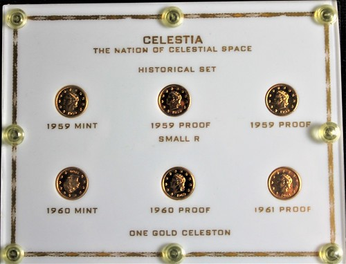 Celestia gold coin set in holder
